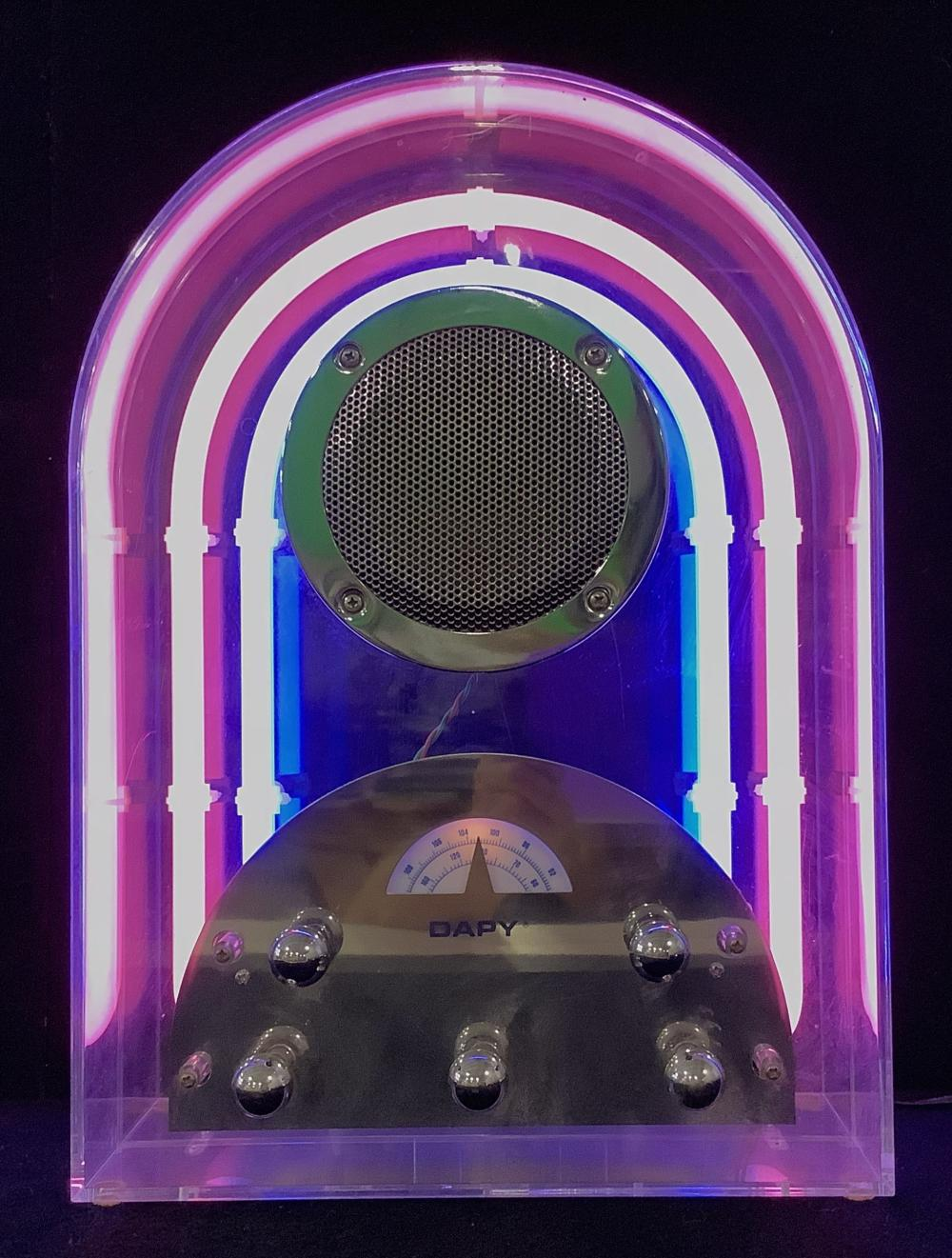 80's Art Deco Style Dapy Lucite Neon Tube Radio