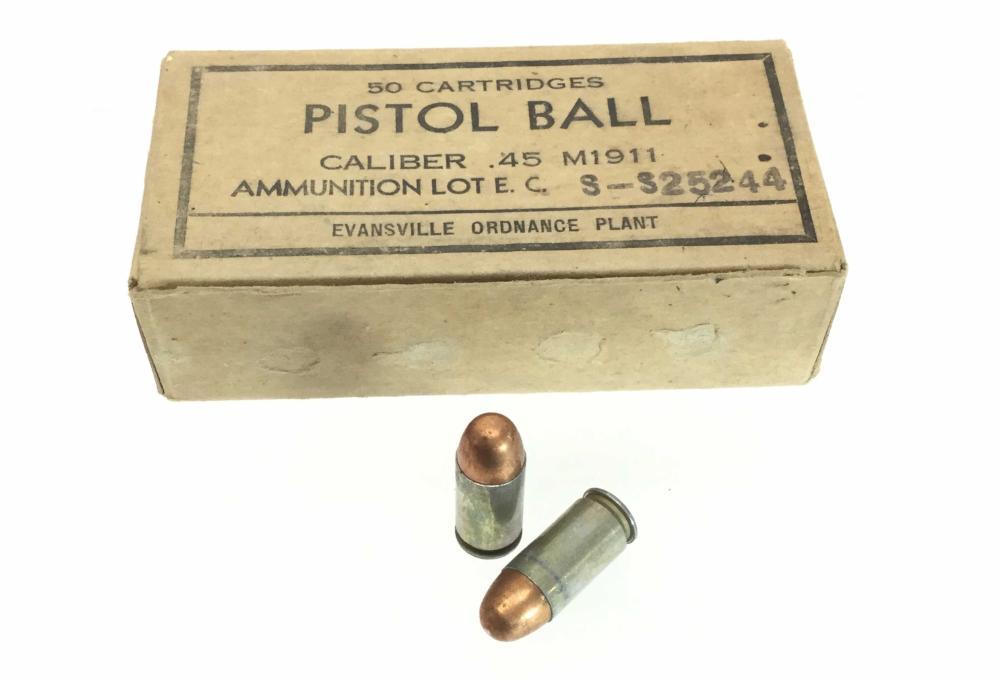(50) .45 M1911 Pistol Ball Ammunition, Cartridges