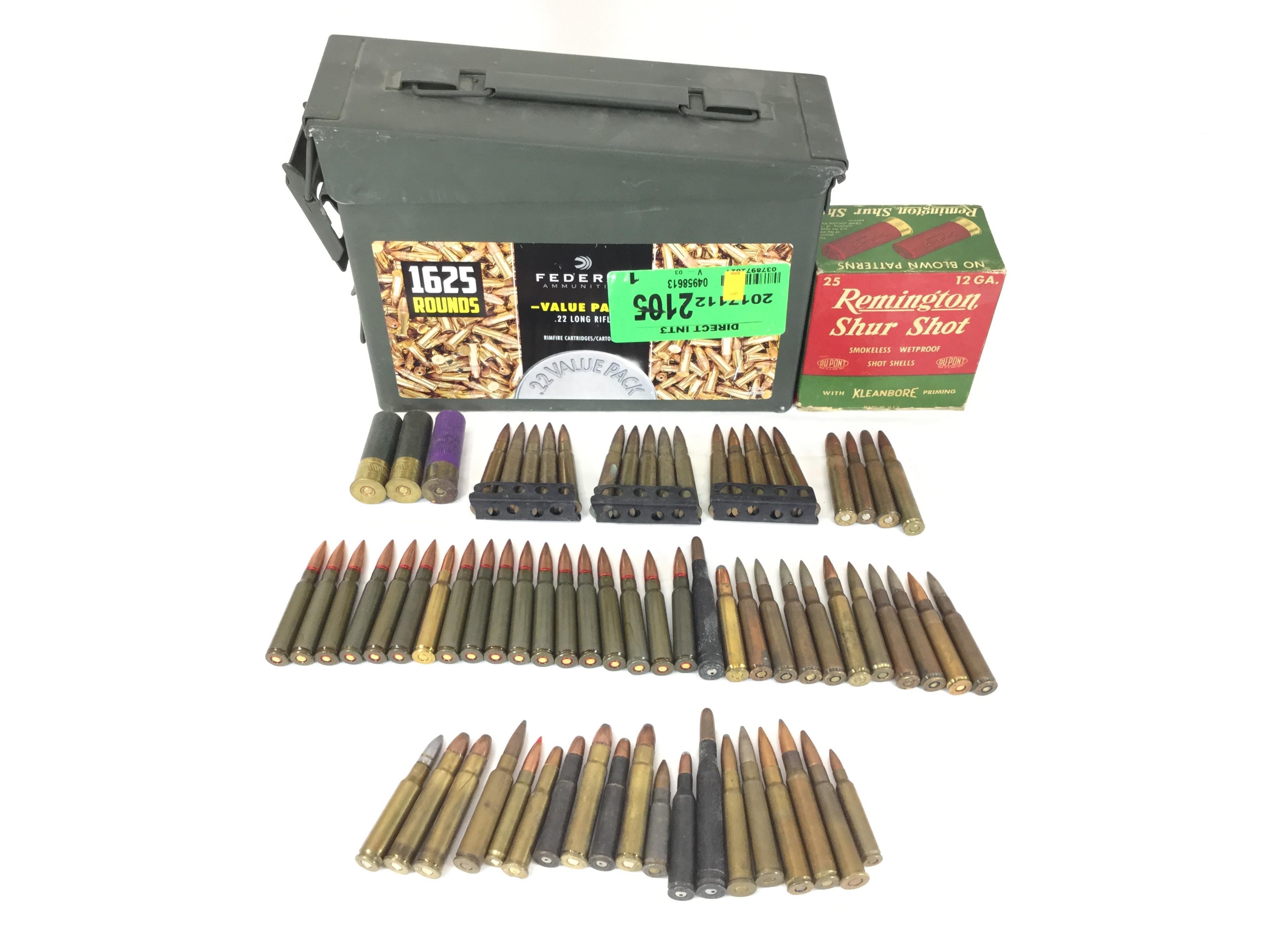 Vintage Rifle, Shotgun Ammo w/ Federal Ammo Can