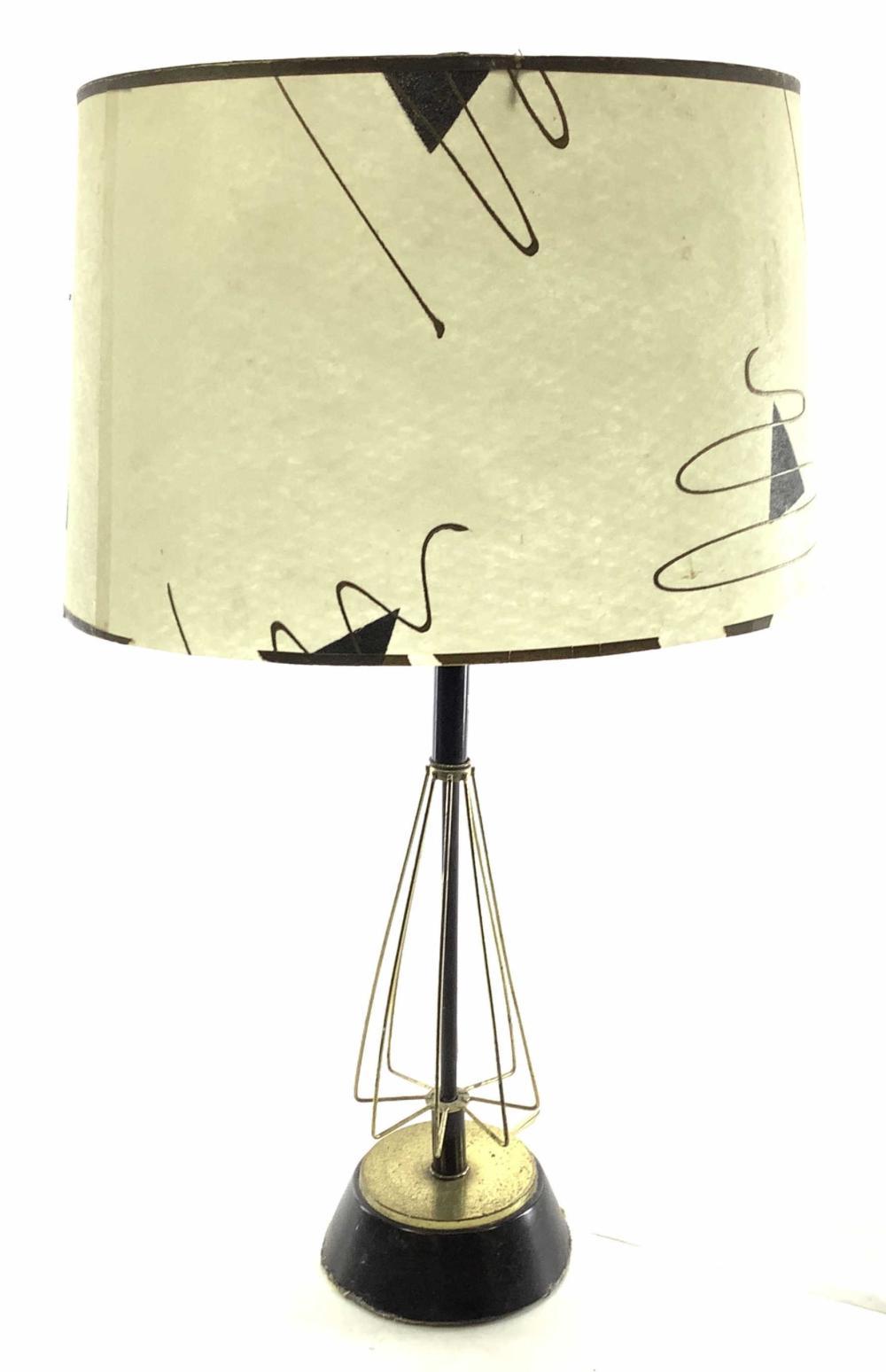 Mid Century Lamp Of Brass & Metal w/ Shade