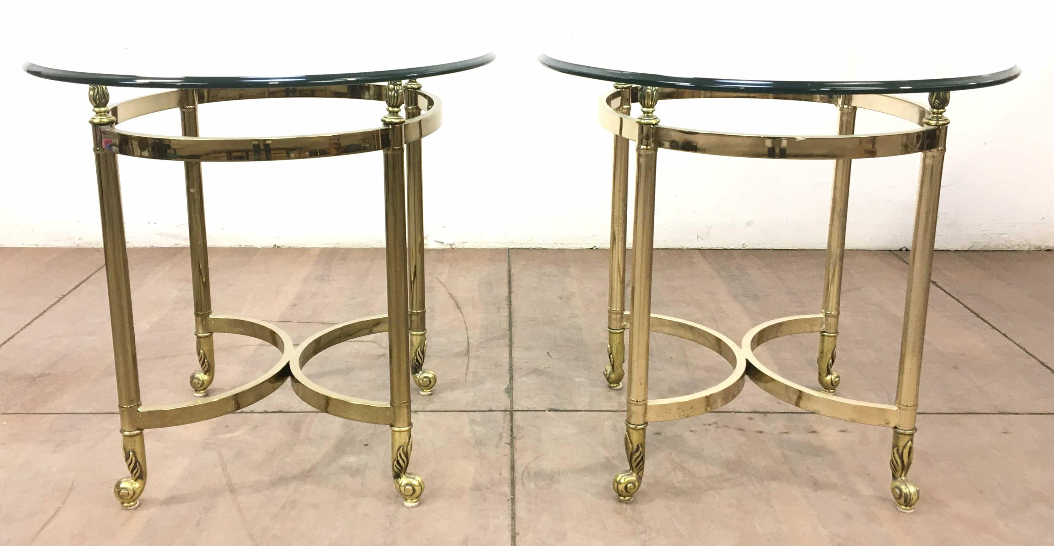 Neo-Classical Style Beveled Glass Top End Tables