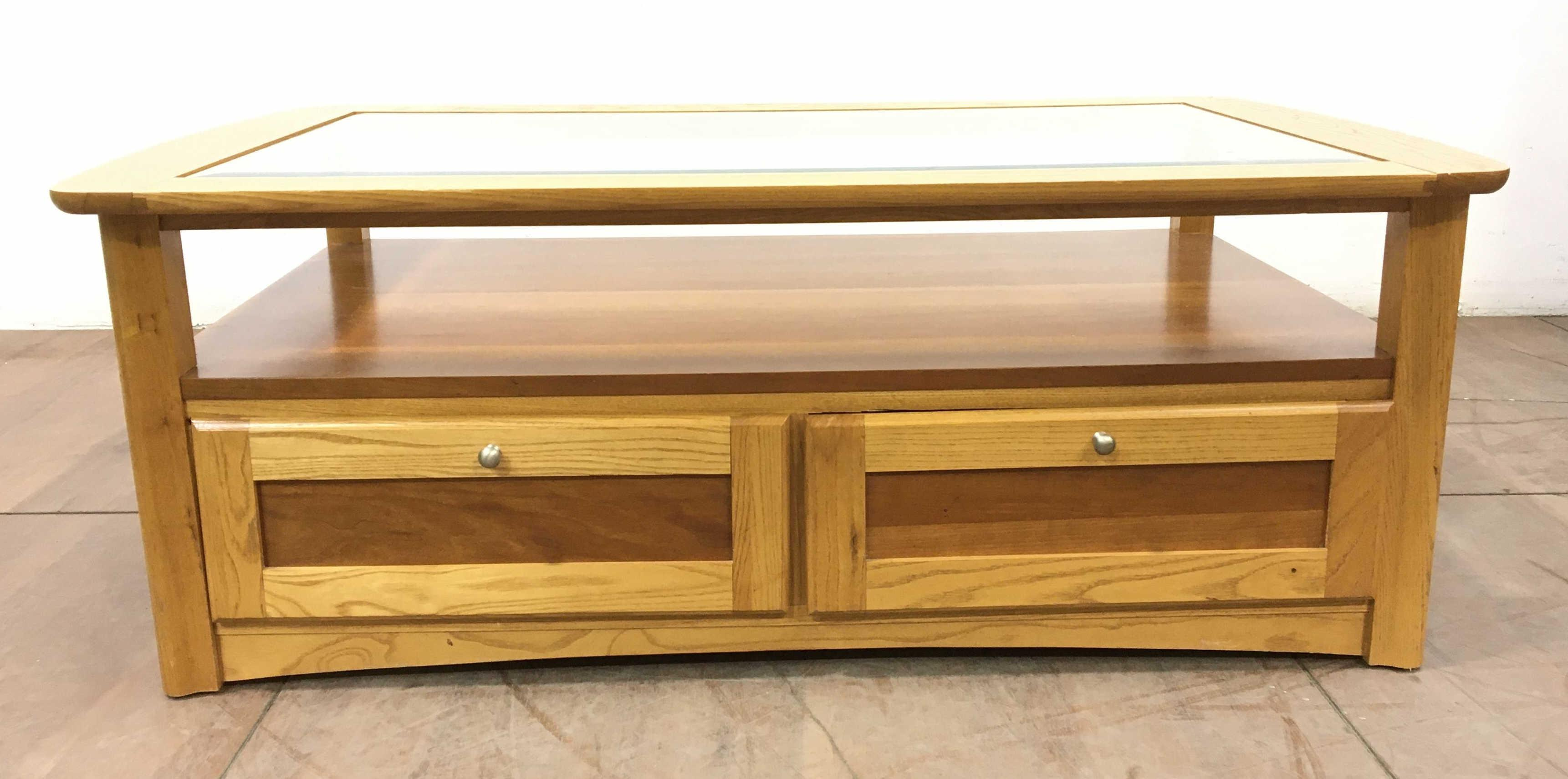 Contemporary Oak & Beveled Glass Top Coffee Table