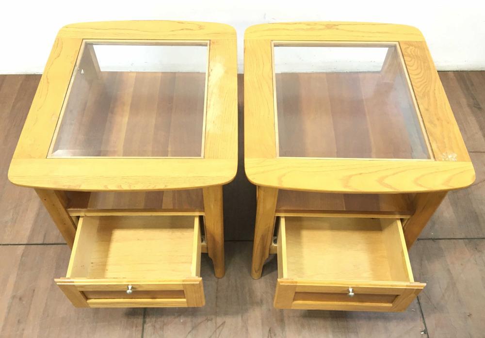 Pair Contemporary Oak & Glass Top Nightstands