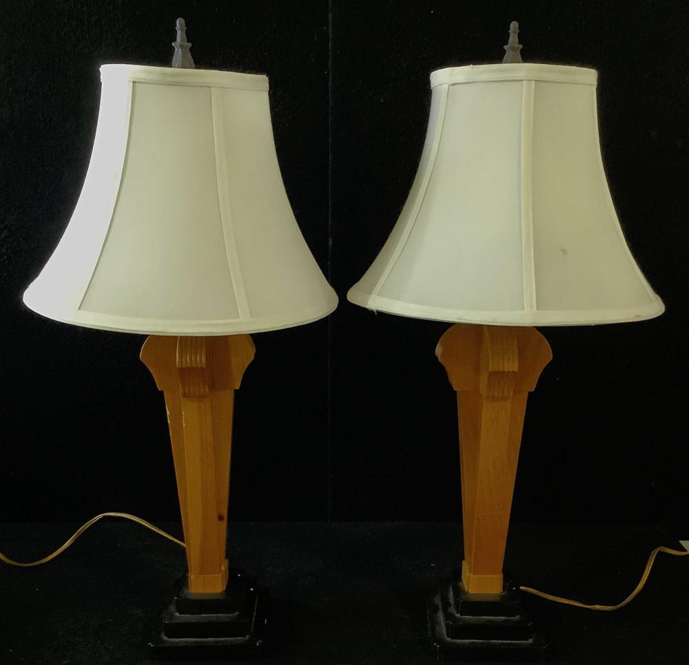 Pair Alsy Wood Base Art Deco Style Table Lamps