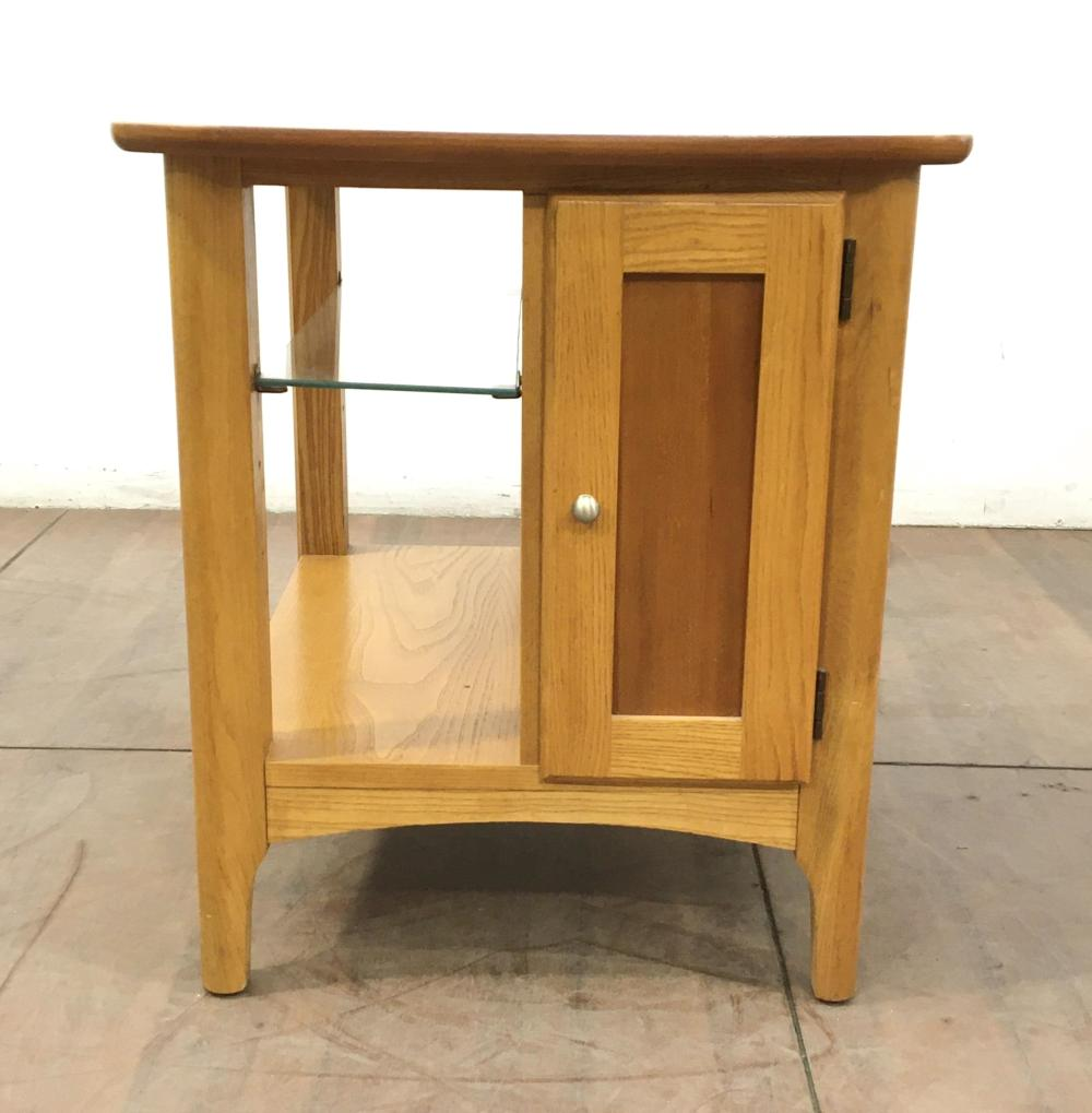 Riverside Oak & Fruitwood, Glass End Table