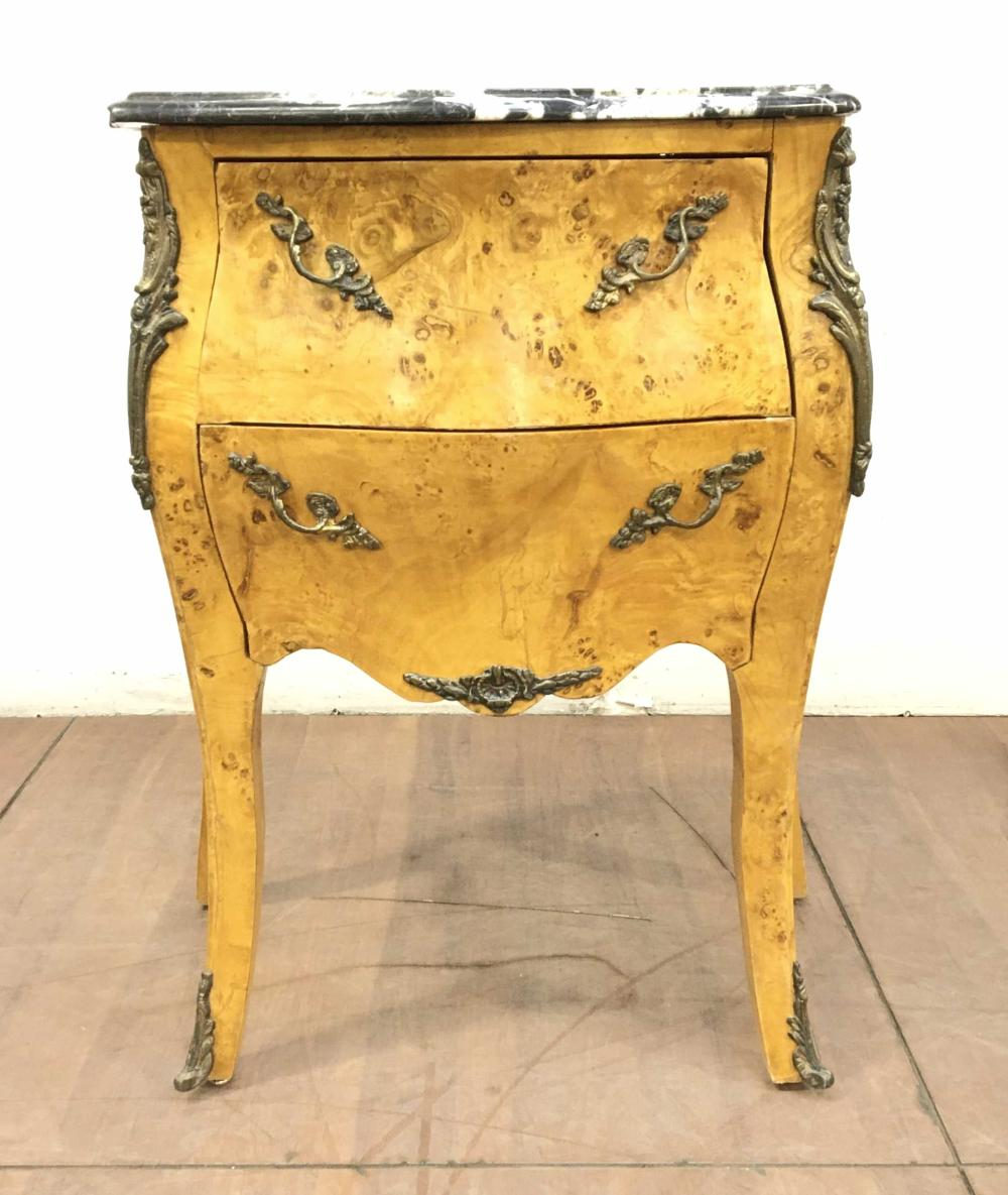 French Louis XV Style Marble Top Bombe Commode