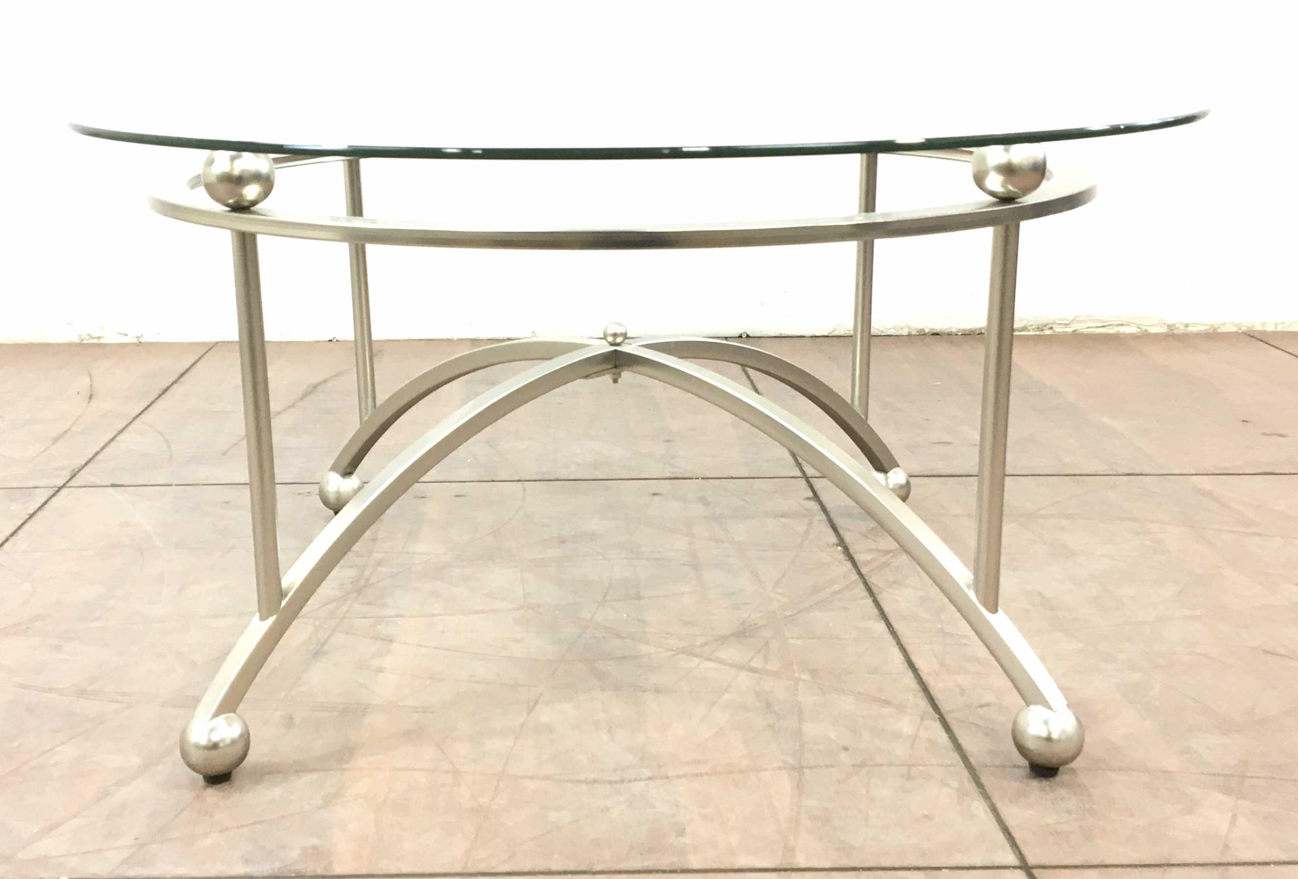Contemporary Aluminum Base Glass Top Coffee Table