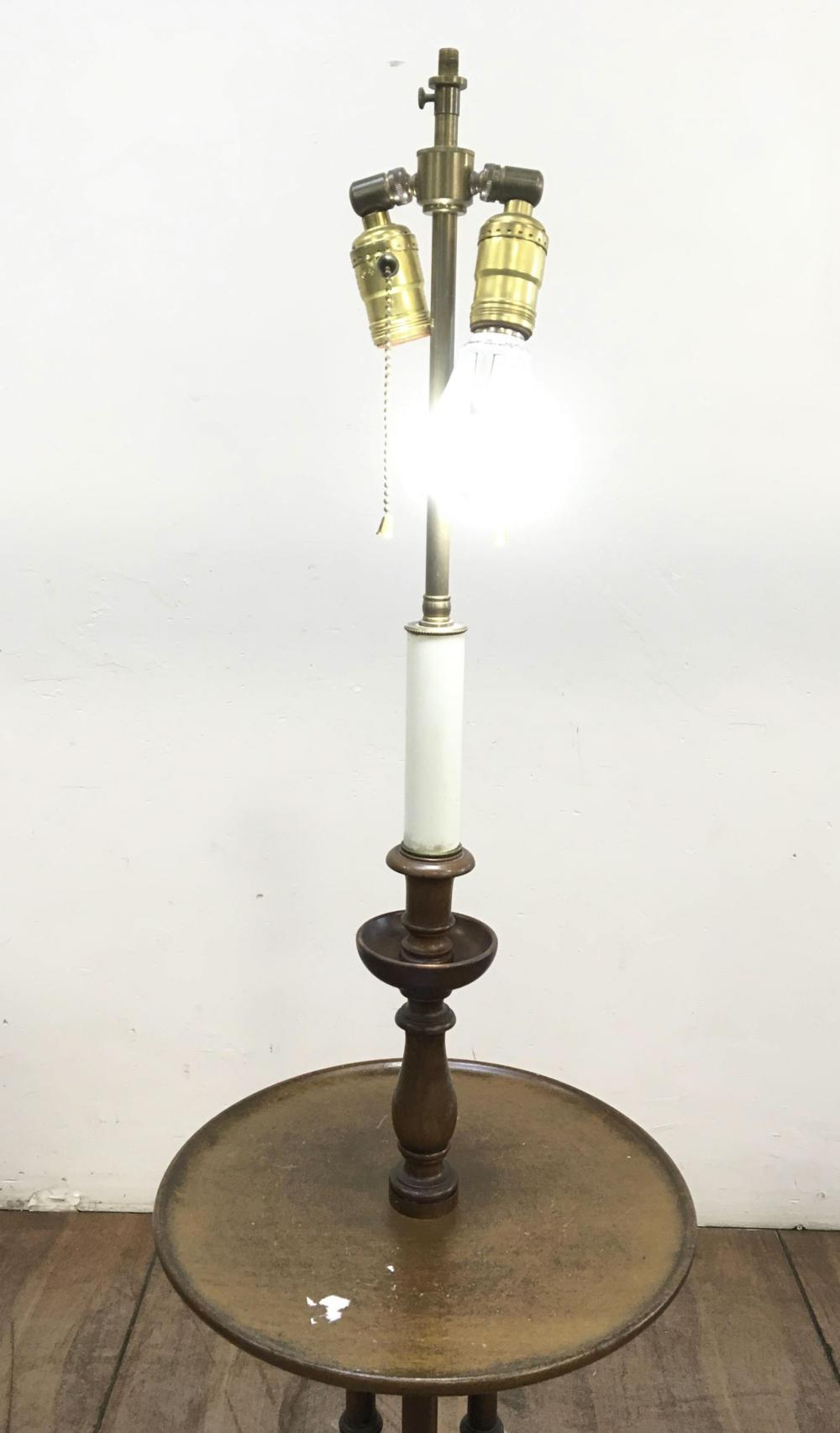 Vintage Queen Anne Style Floor Lamp / Table Combo