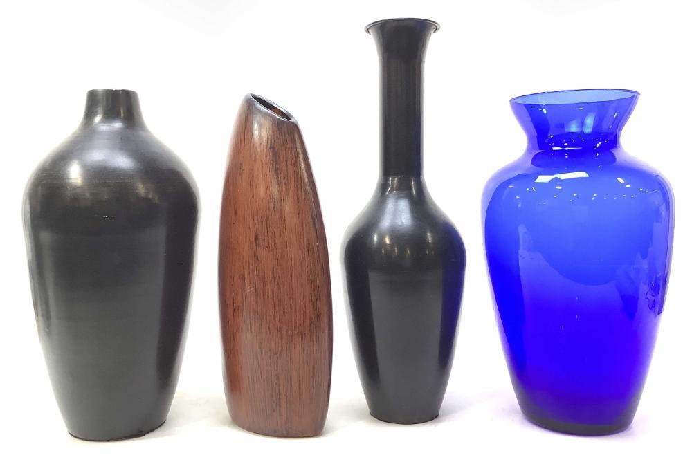 (4) Decorator Vases, Pottery, Metal, Glass