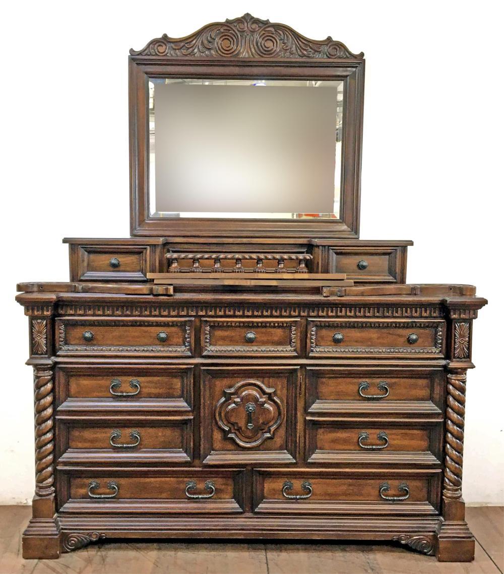 Collezione Europa Italian Baroque Oakwood Triple Dresser & Mirror