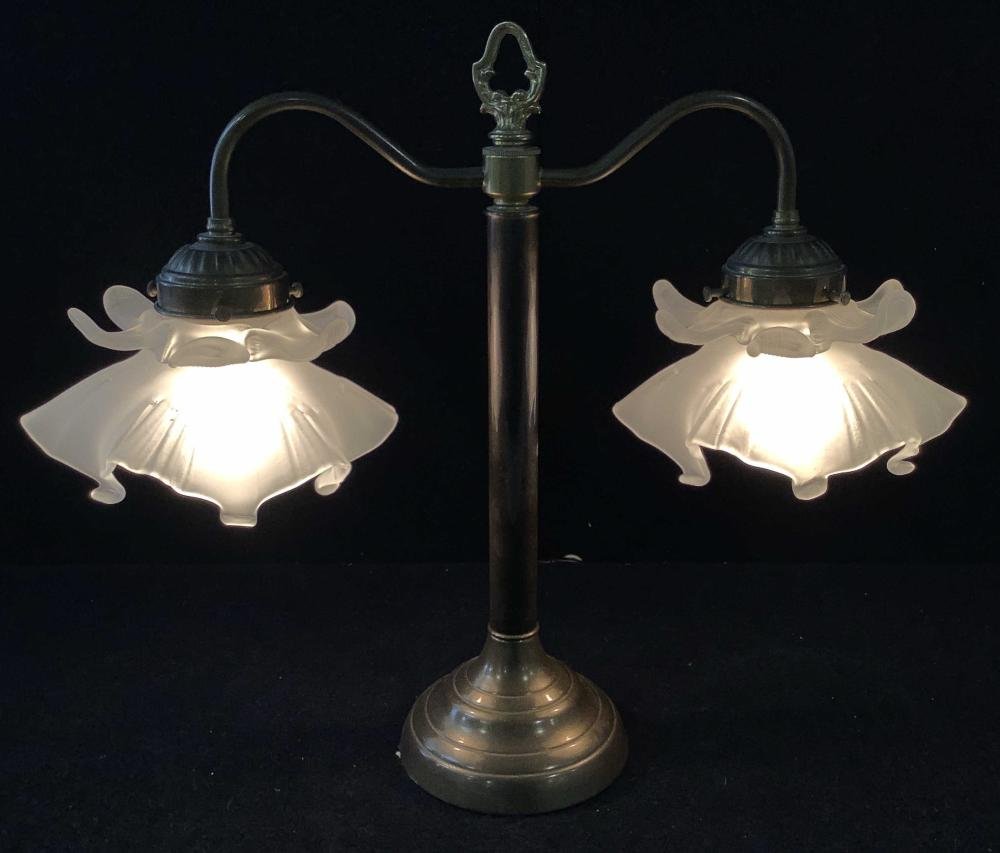 Vintage Glass Shade Students Table Lamp