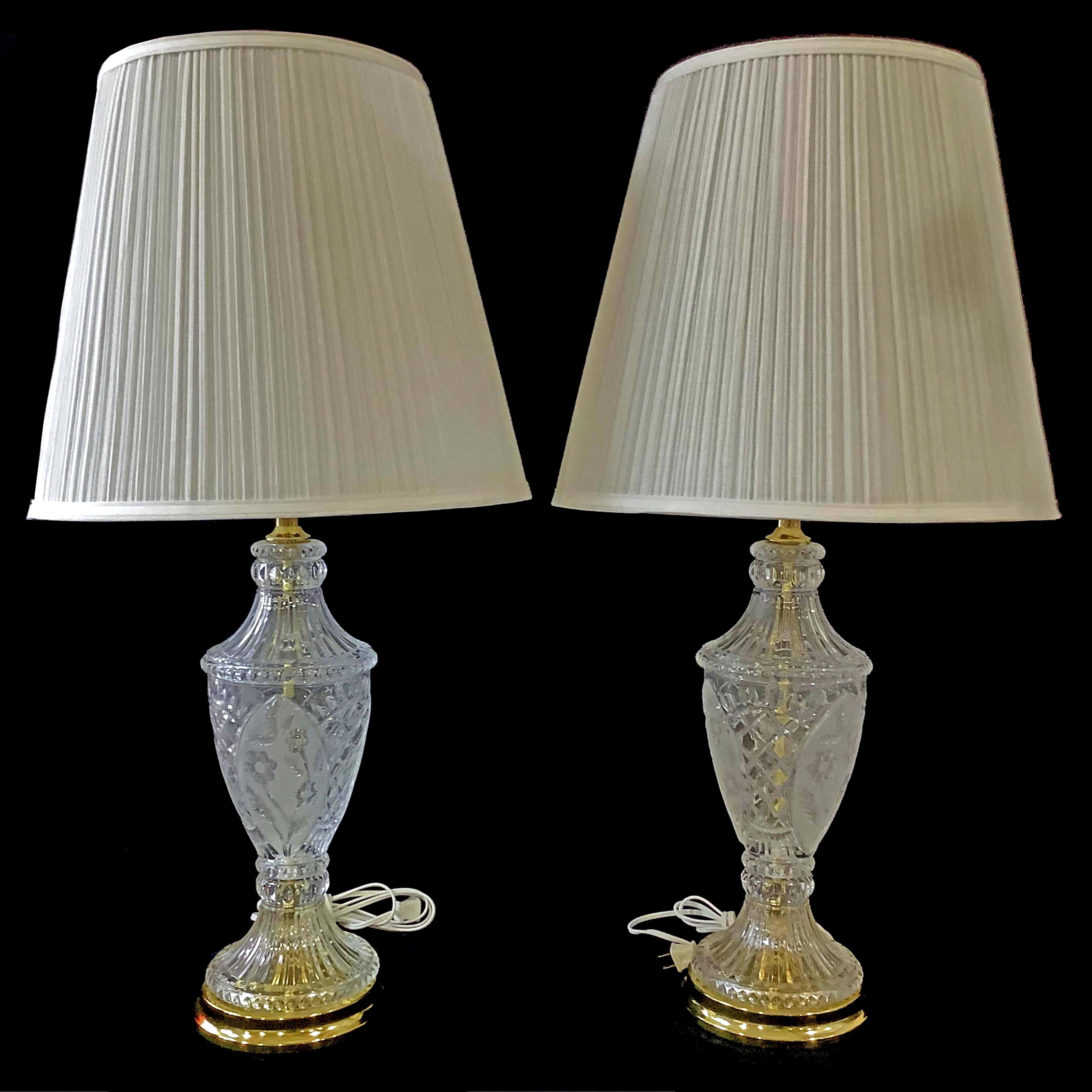 Pair Etched Crystal Table Lamps