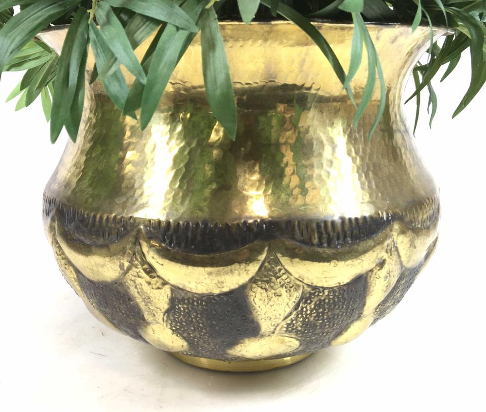 Italian Hammered Brass Planter & Silk Plants