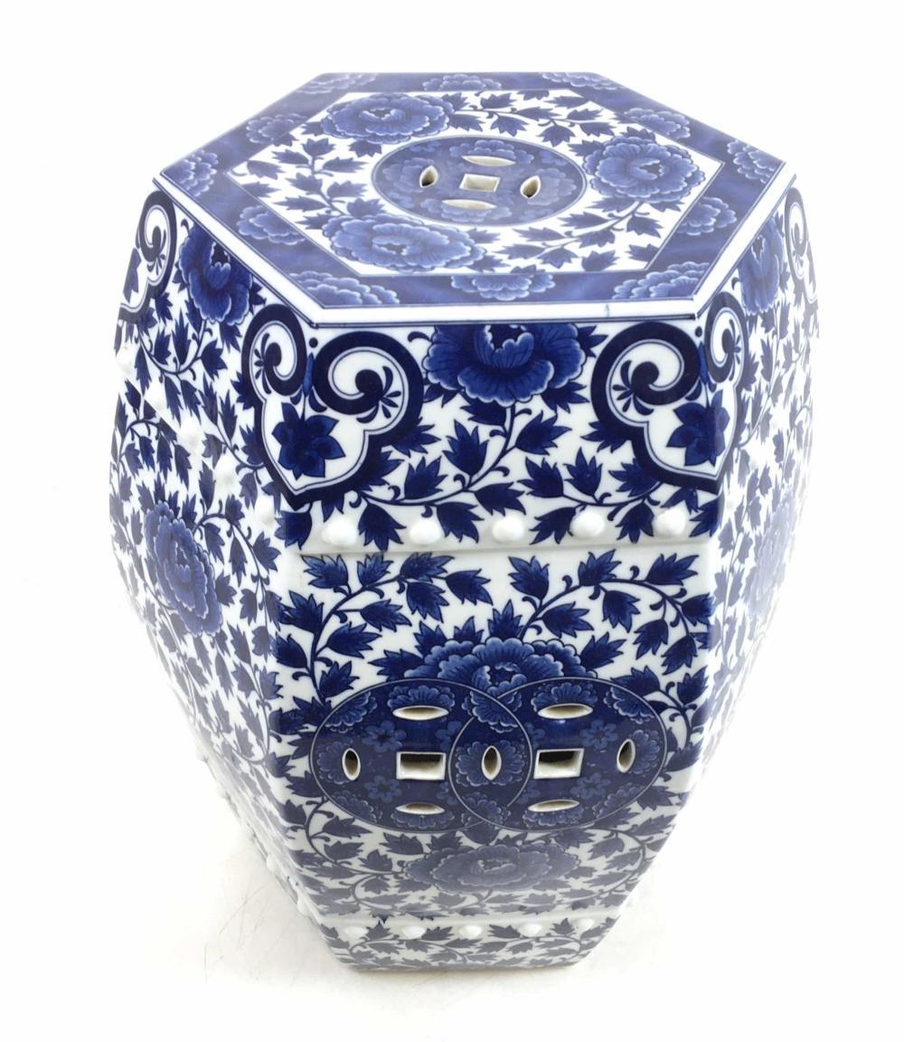 Oriental Blue & White Porcelain Garden Stool