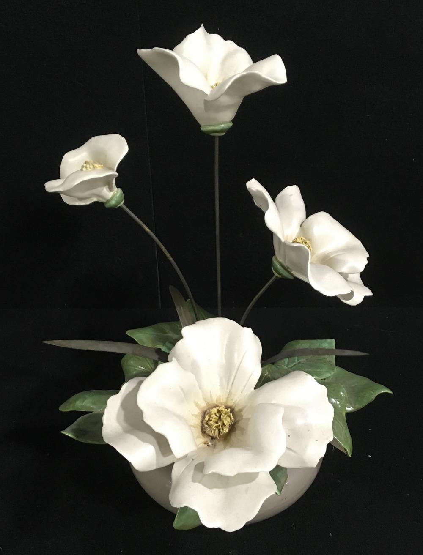 (2) Mid Century Modern Porcelain Floral Sculptures