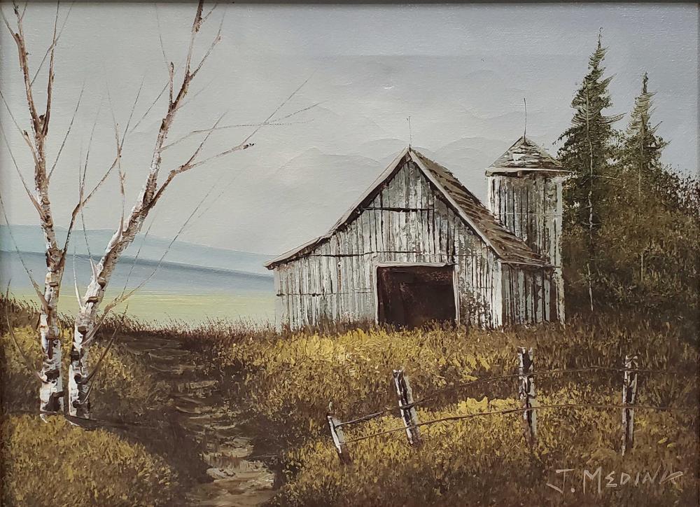 J. Medina Signed Farmhouse Landscape Oil On Canvas