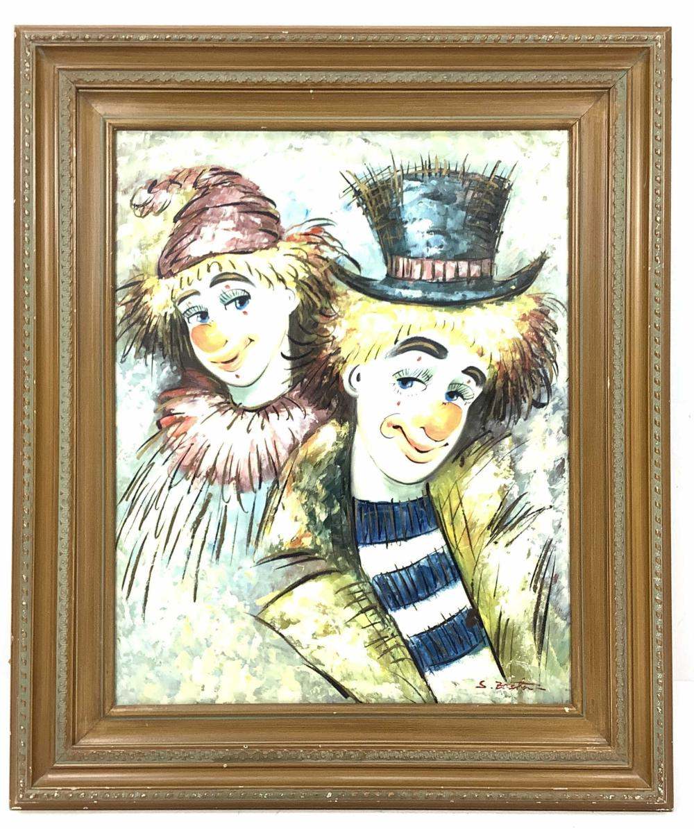 S. Baster Signed Oil On Canvas Painting, Clowns