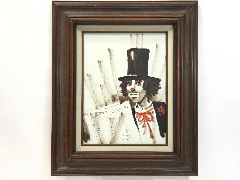 Sardi Signed Clown Oil On Canvas Painting