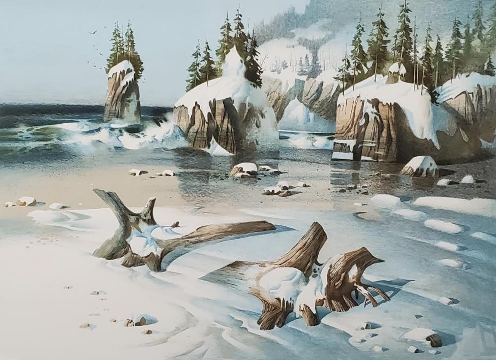 (2) Tom Nicholas Prints, Winter Beach, New England