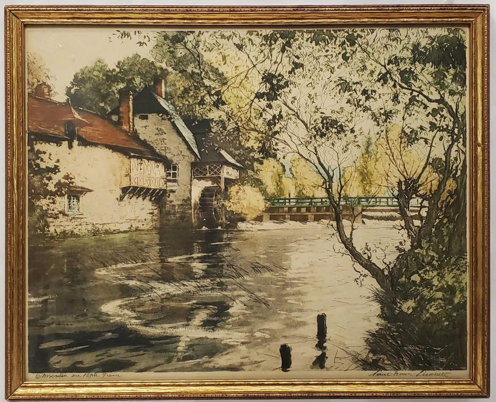 Vintage French Watermill Framed Print