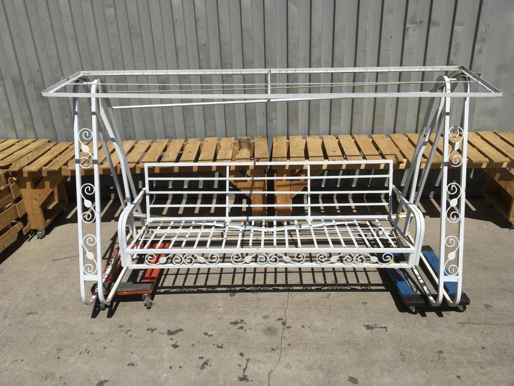Mid Modern Dogwood Wrought Iron Patio Swing