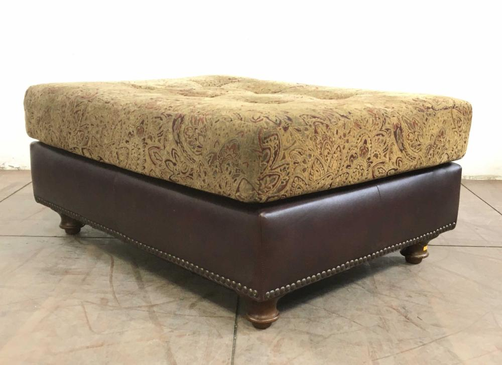 Traditional Faux Leather Nailhead Ottoman