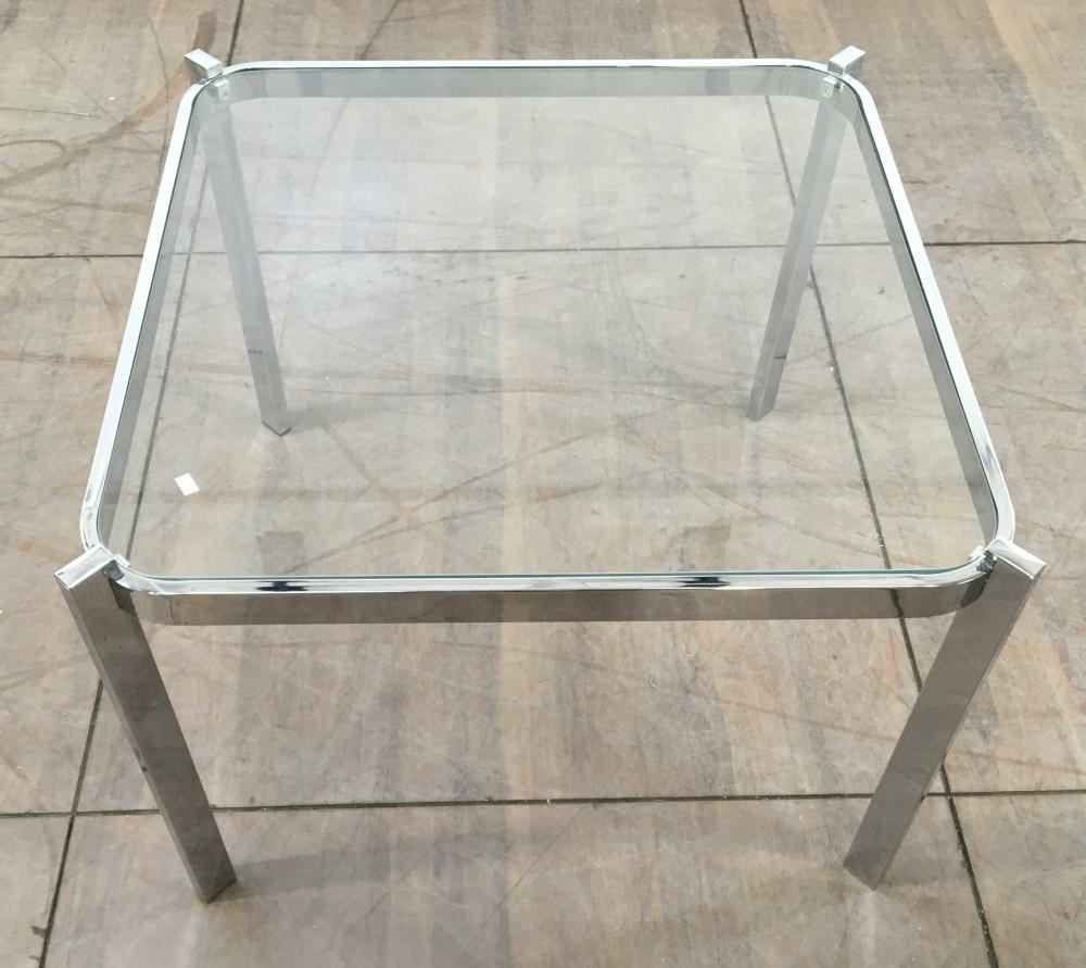 Contemporary Chrome Base Accent Table