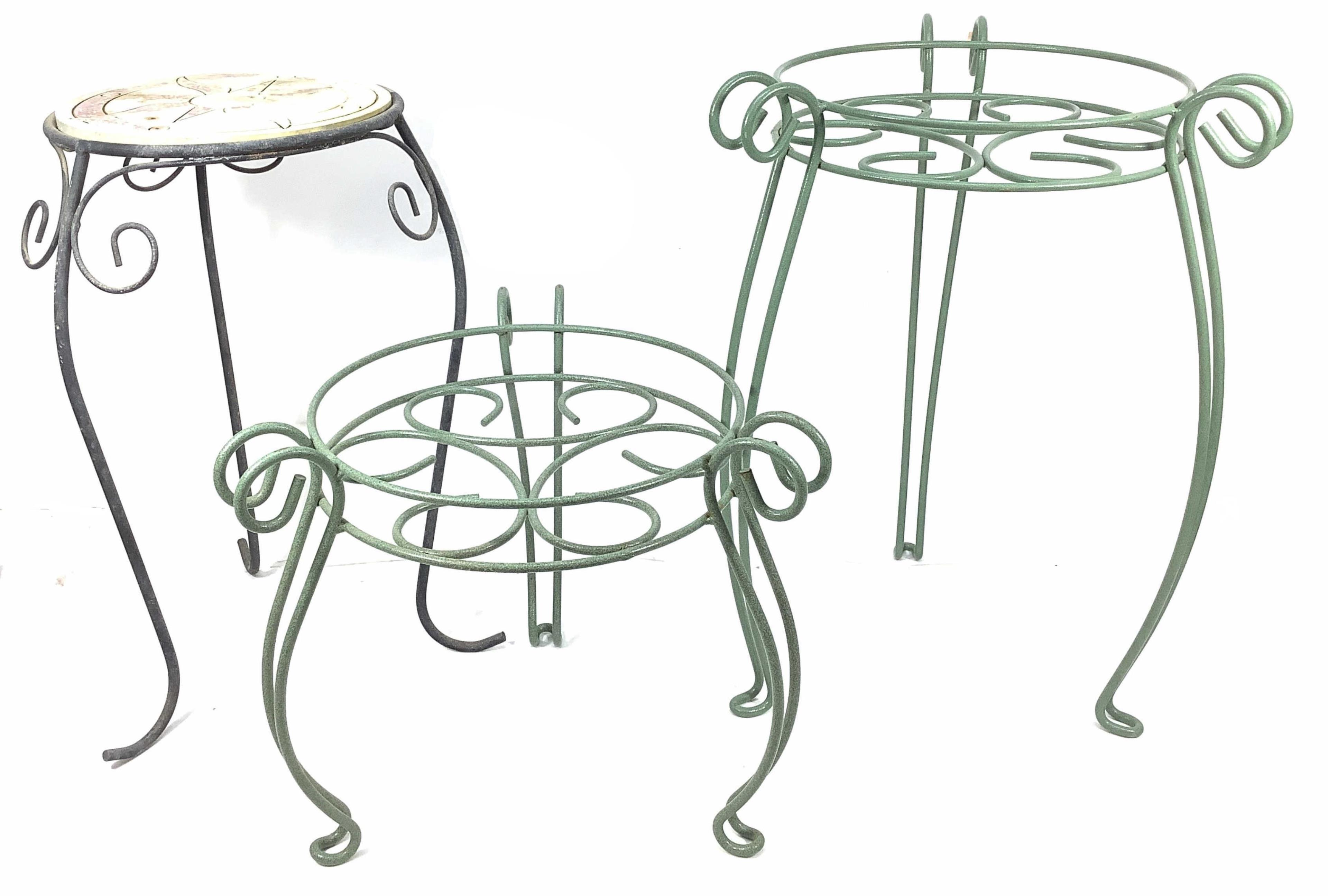 (3) Iron Patio / Garden Tables / Stands