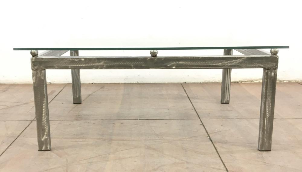 Contemporary Steel & Glass Top Coffee Table