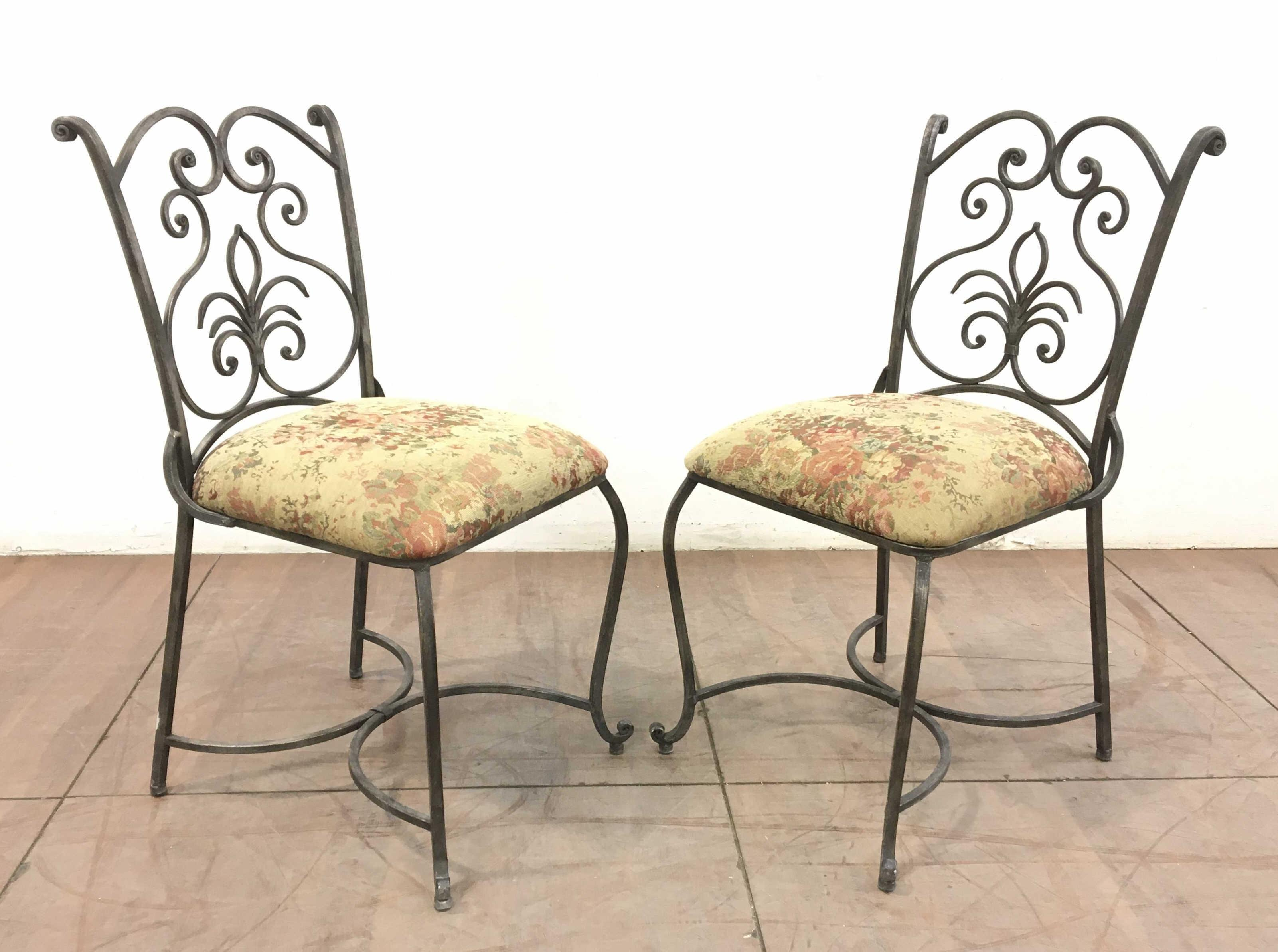 Pair Of Upholstered Metal Base Armless Chairs