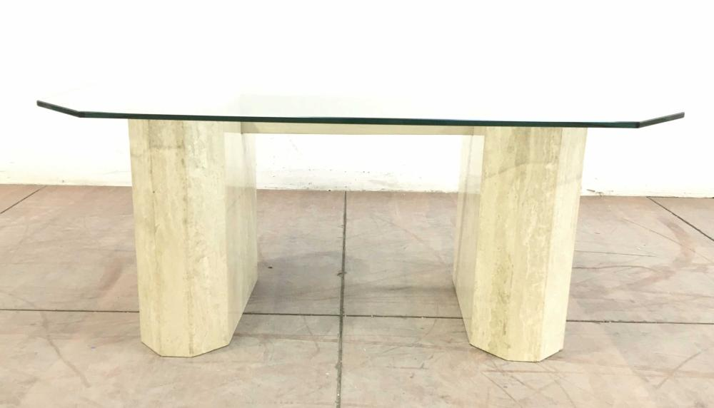 Contemporary Ceramic Glass Top Coffee Table