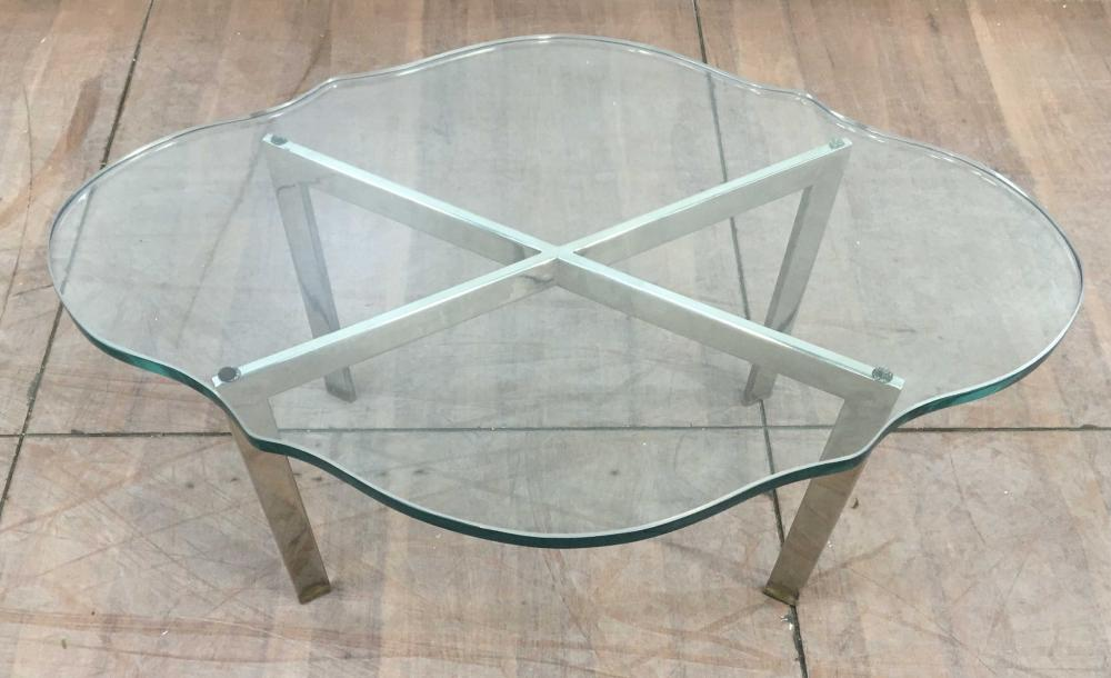 Contemporary Chrome & 1in Glass Top Cocktail Table