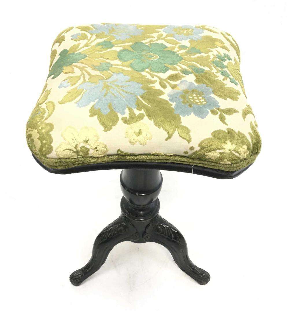 Traditional Iron & Wood Upholstered Stool