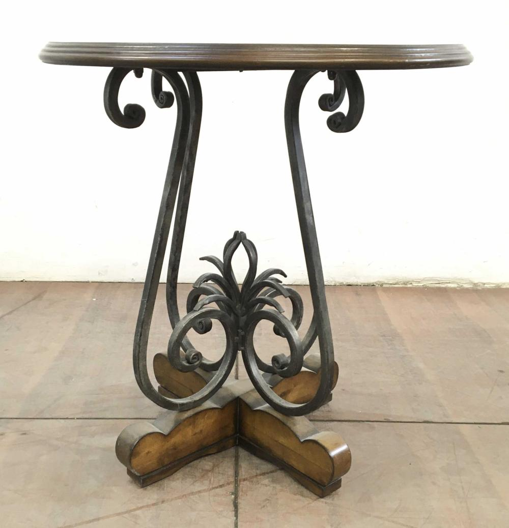 Traditional Metal & Round Wood Top Accent Table
