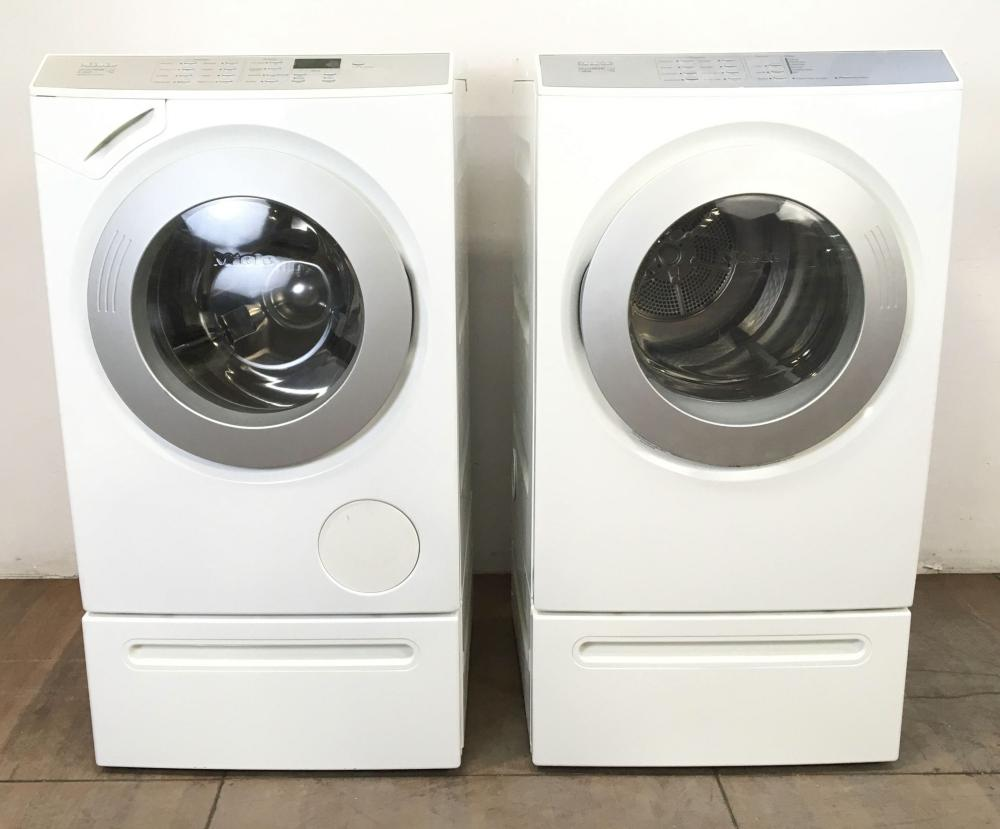 (2pc) Miele Touchtronic Electric Washer & Dryer