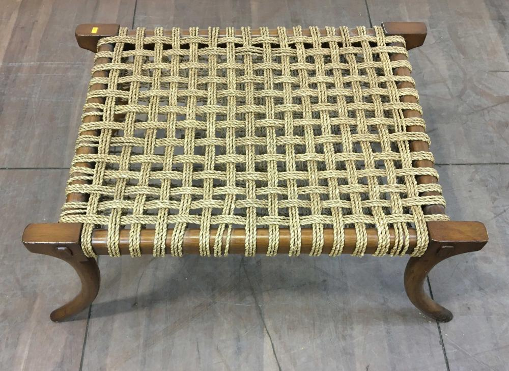 Mid Century Modern Wood & Jute Rope Bench