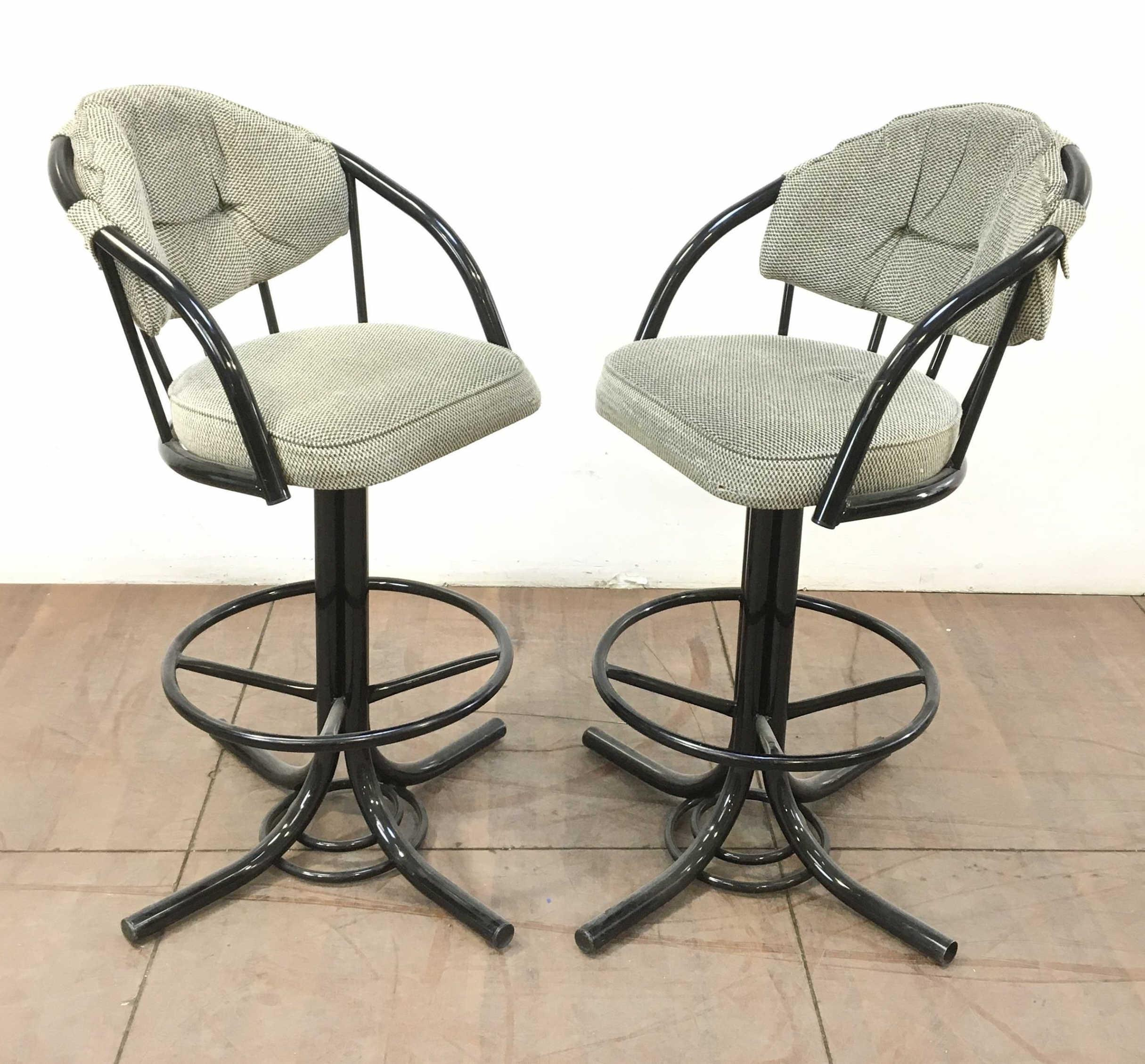 Pair Contemporary Lacquered Upholstered Barstools