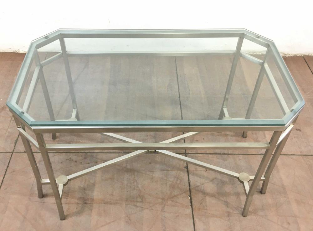 Contemporary Steel & Beveled Glass Top Accent Table