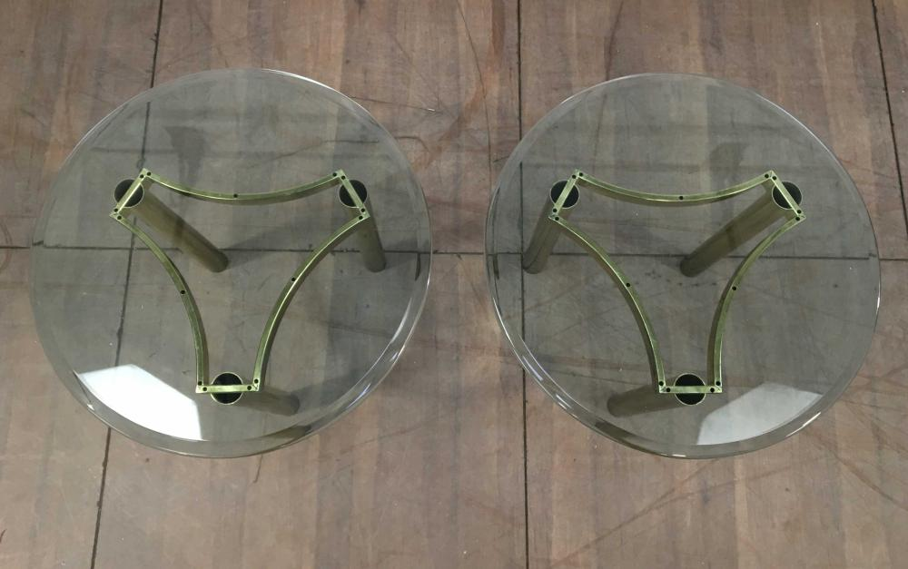 Pair Of Classical Beveled Glass Top End Tables