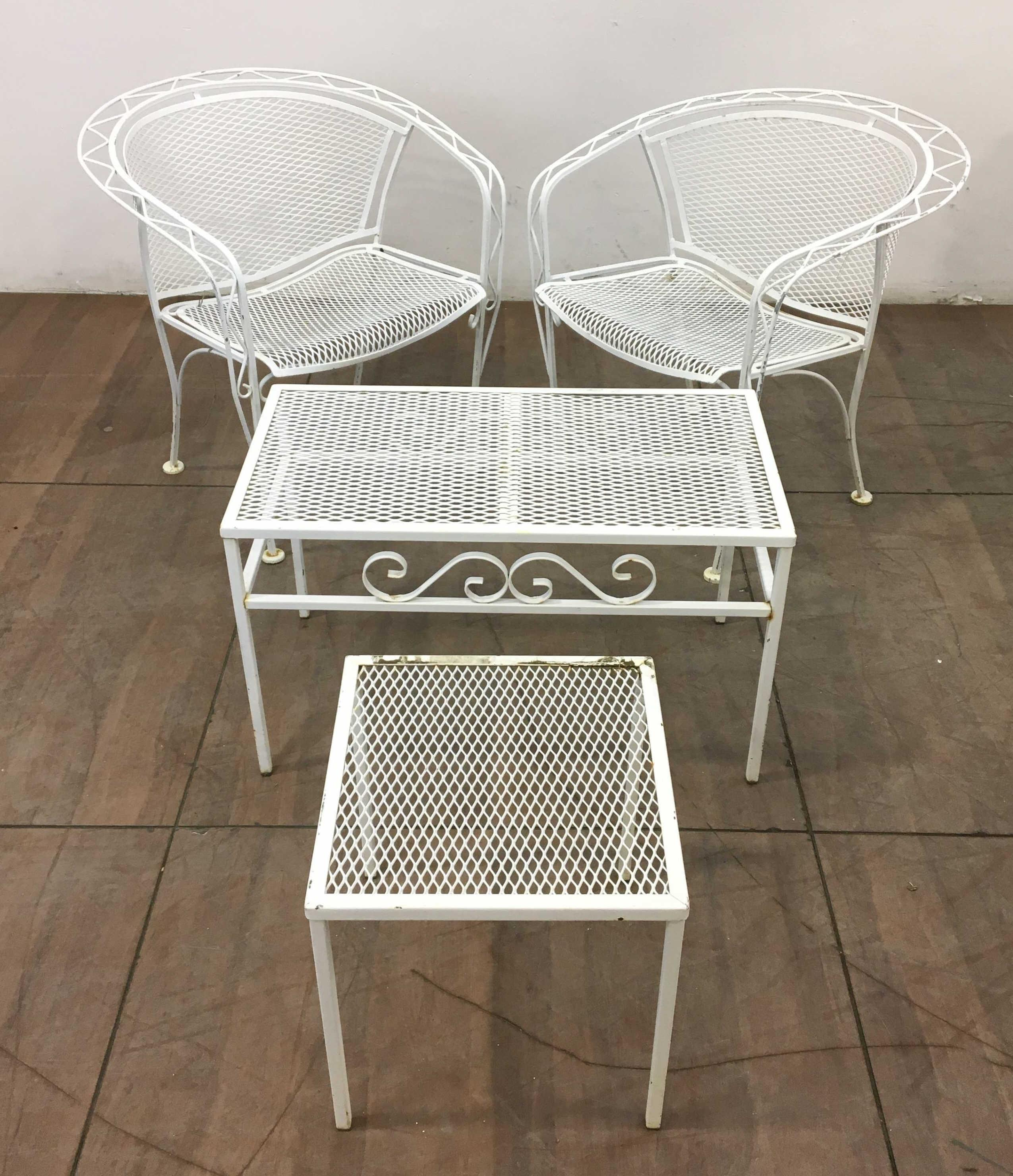 (4pc) Iron Patio Garden Chairs & Tables
