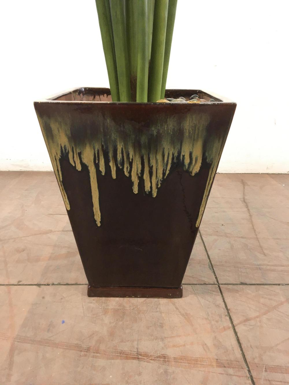 Faux Potted Palm Tree In Drip Glaze Planter
