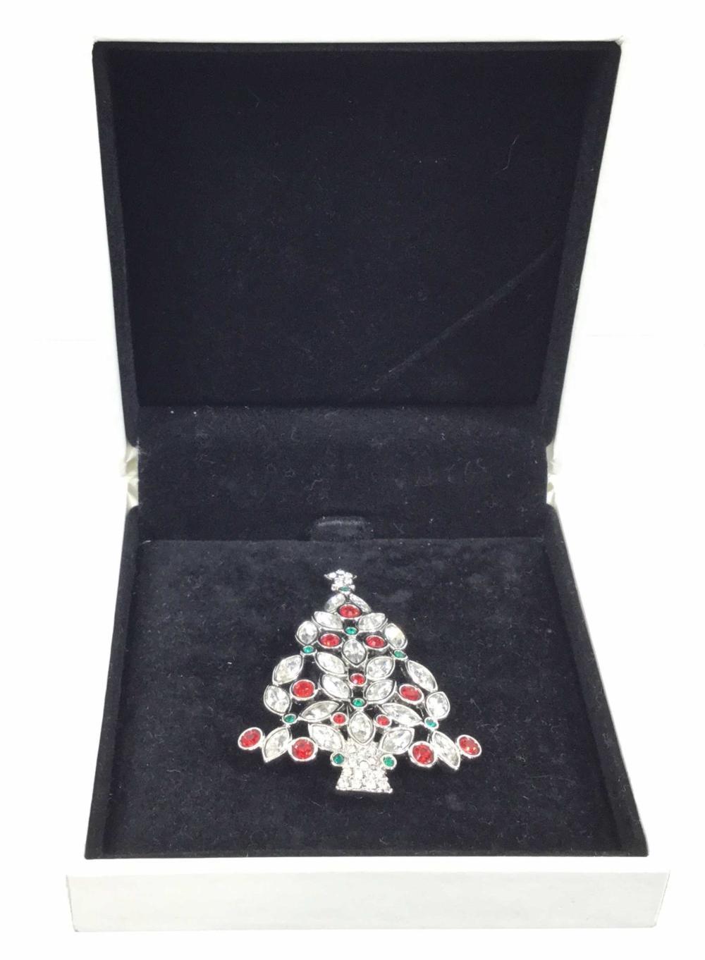 Swarovski Signed Christmas Tree Brooch