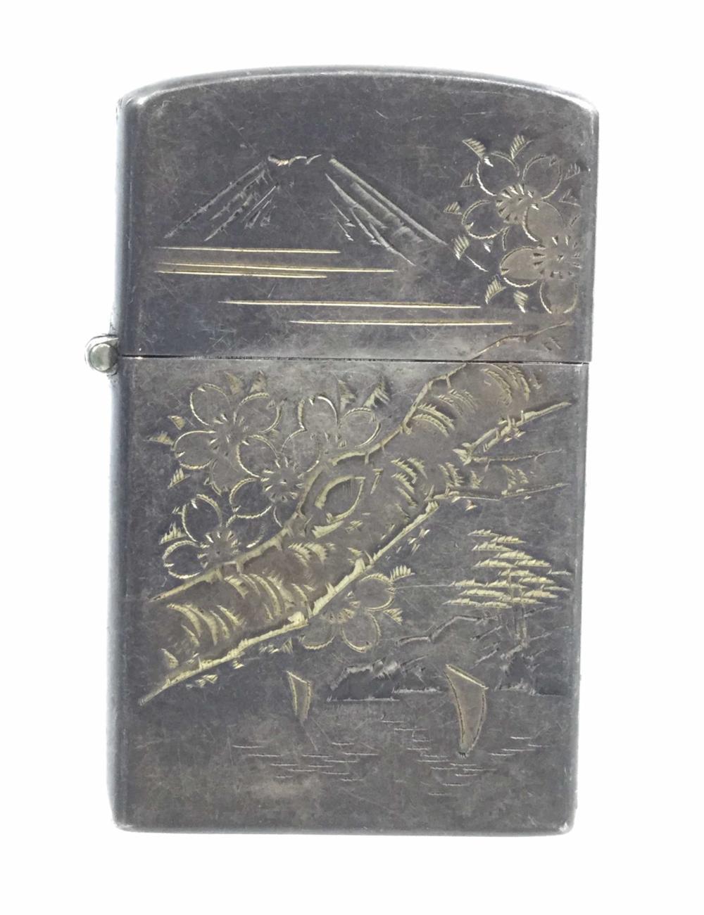 Vintage Japanese 950 Silver Mt. Fuji Engraved Lighter