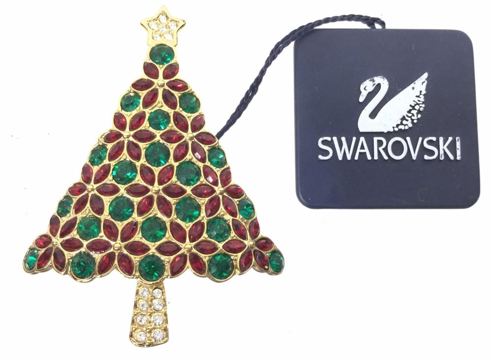 Swarovski Signed Poinsettia Christmas Tree Brooch