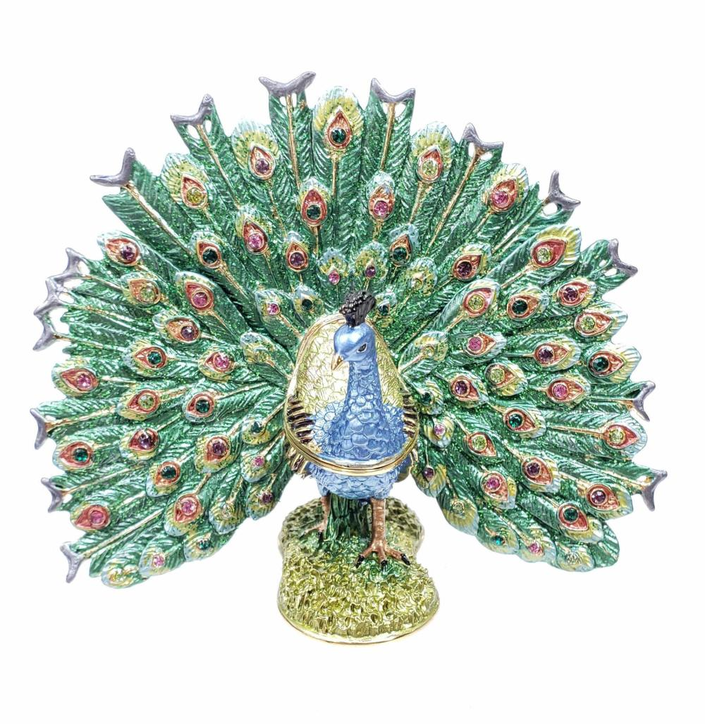 Enamel Peacock Box