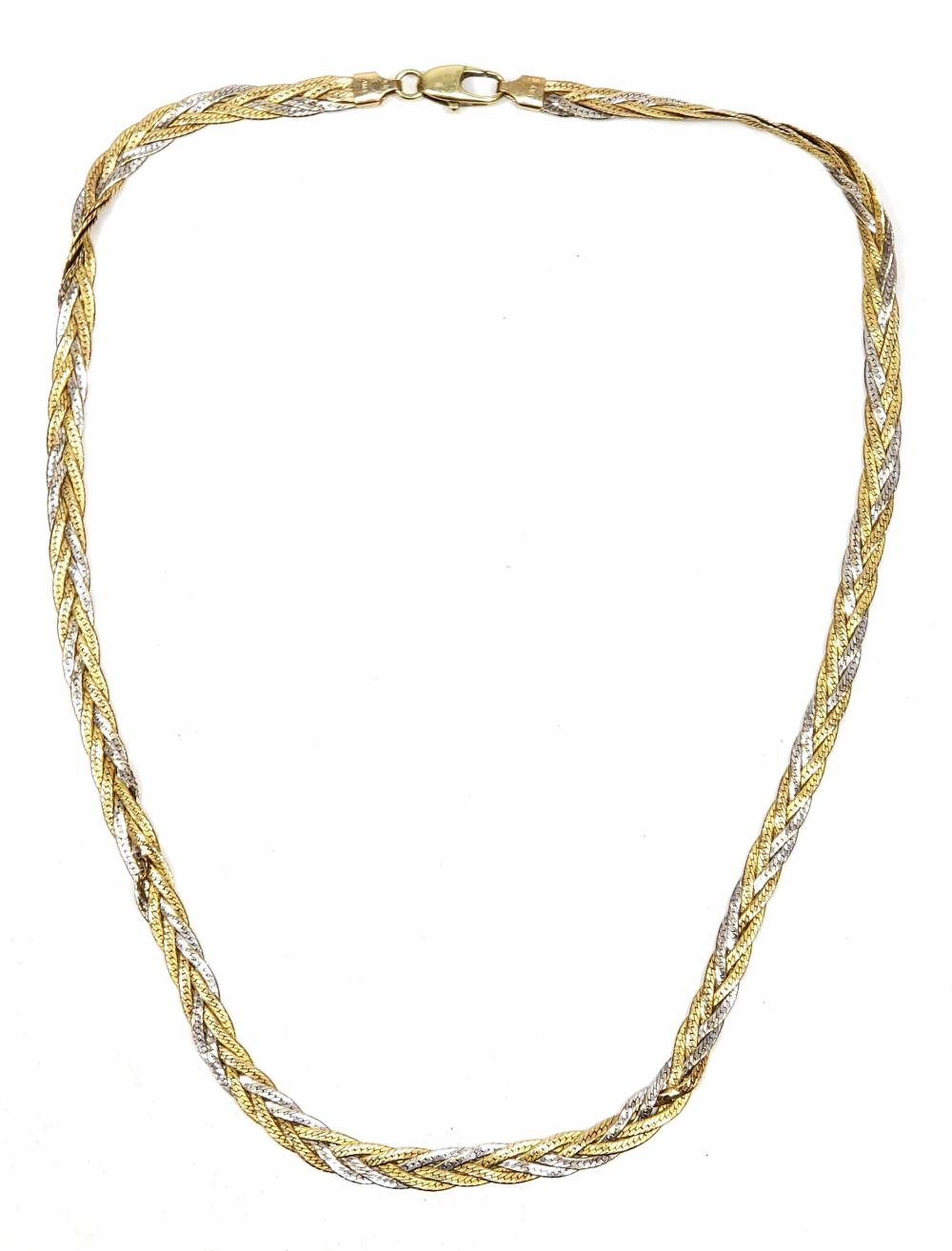 14K White & Yellow Gold Herringbone Necklace