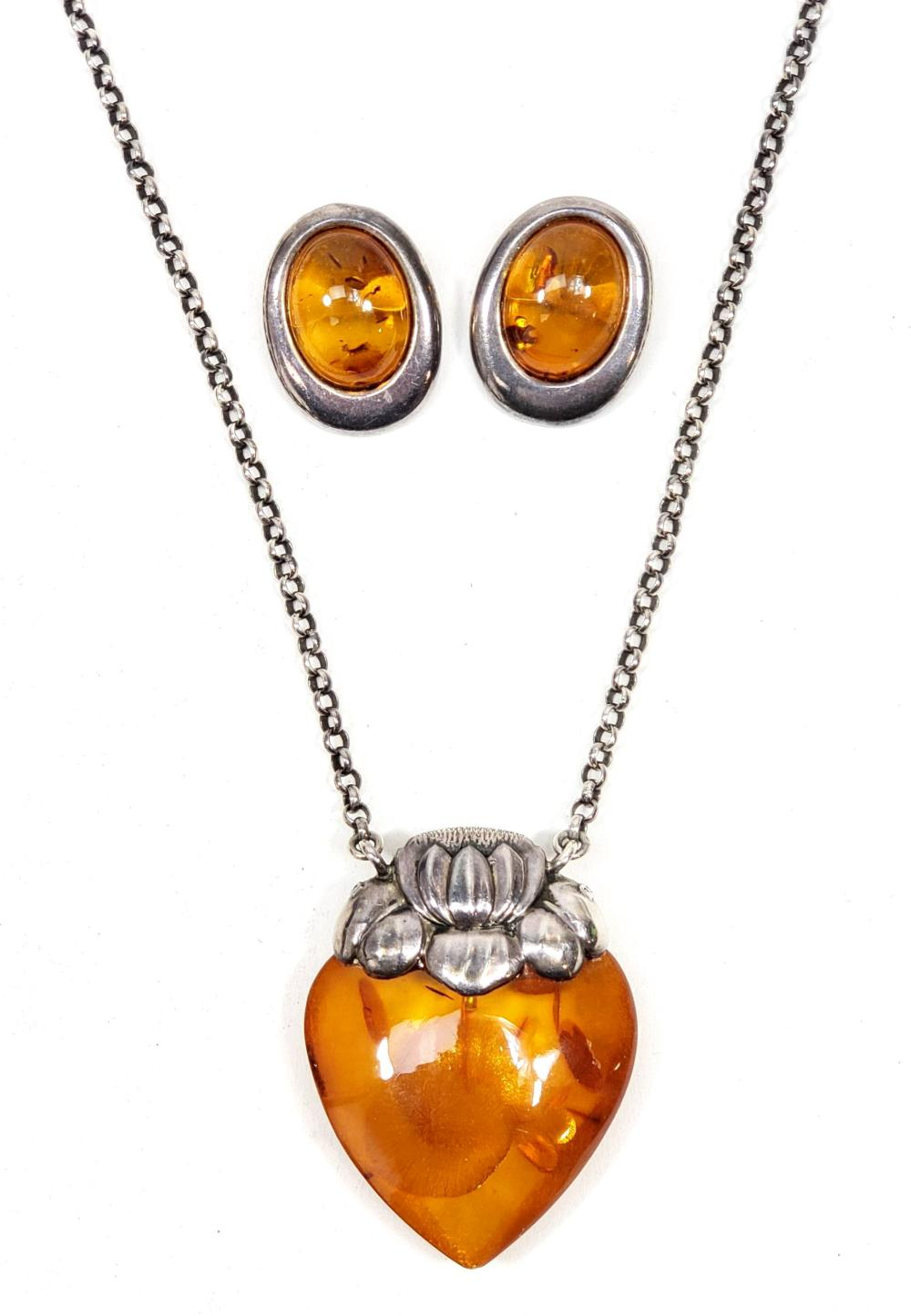 Sterling Silver & Amber Jewelry Suite