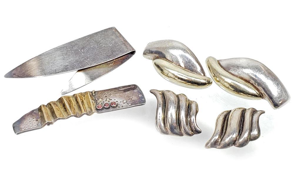 Sterling Silver Sik Brooch & Earrings
