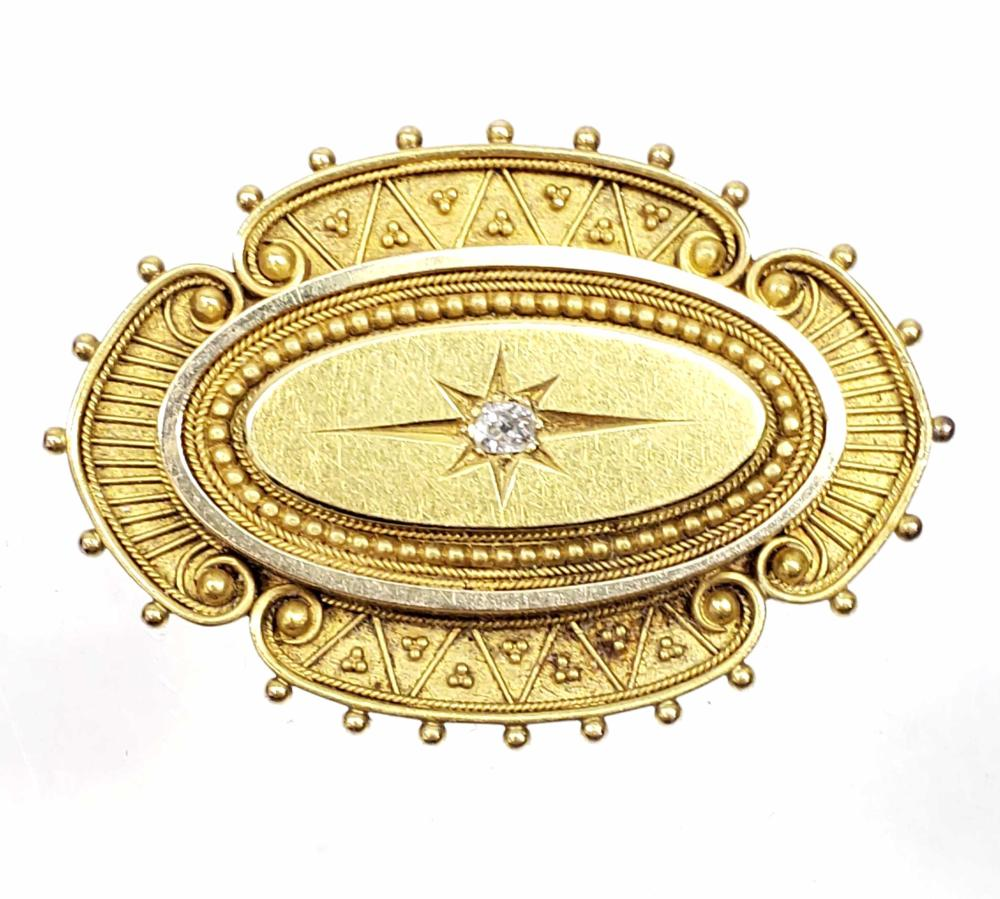 14K Gold & Diamond Art Deco Brooch