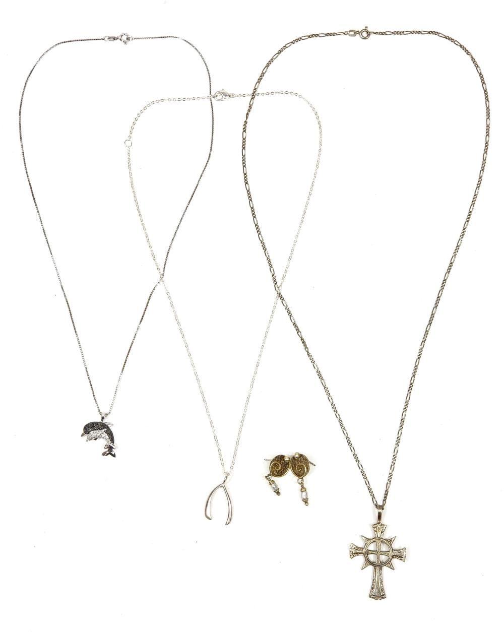 (3) Sterling Silver Necklaces & Pair Earrings